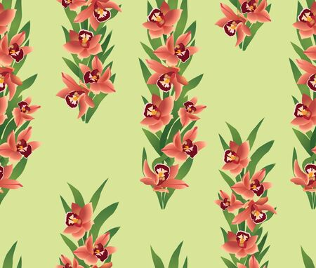 Floral seamless pattern with flowers orchids  Stock Vector - 17271601