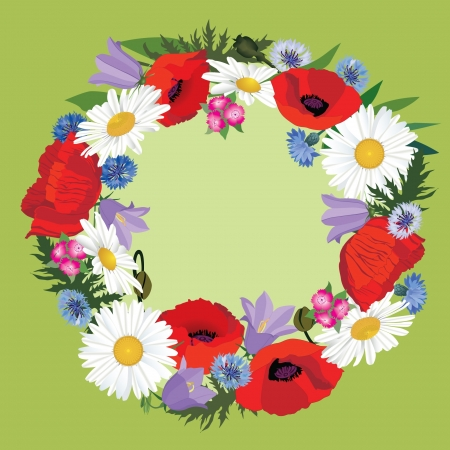 Flower frame with copy space  Wreath with meadow flowers poppy and chamomile Vector