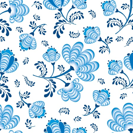 abstract floral seamless pattern  blue flowers on white background  in russian style Gzhel  Vector
