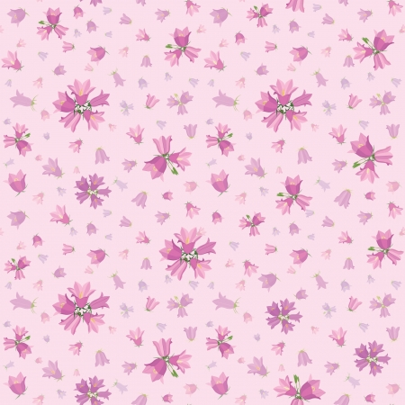 Seamless flower pattern with flowers bluebells, vector floral illustration in gentle girlish style   Vector