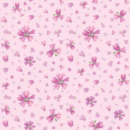 girlish: Seamless flower pattern with flowers bluebells, vector floral illustration in gentle girlish style   Illustration