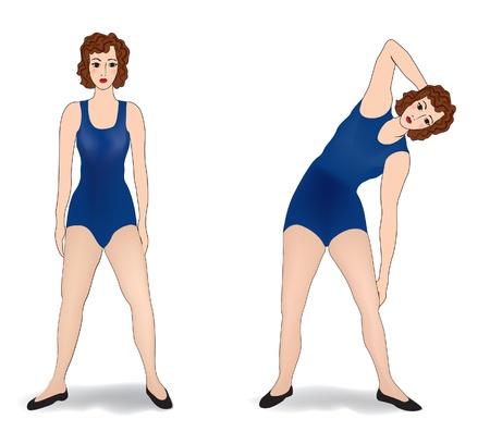 aktywność fizyczna: kobieta wykonujących w siłowni Kobieta jest zaangażowana w aktywności fizycznej Ilustracja