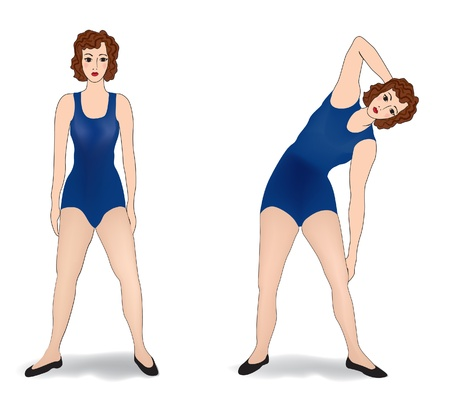physical exercise: woman exercising in gym  Woman is engaged in physical activity