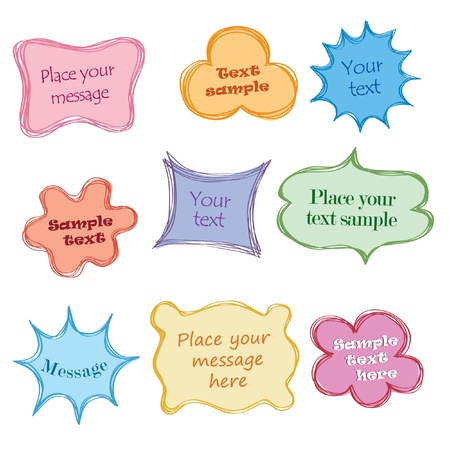 Vintage fun frames with copy space  Speech bubbles with calligraphic elements in 1960s style  Vector set   Stock Vector - 17280124