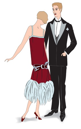flapper: Couple on party, Flapper girl with man  Retro fashion party 1920s style Illustration