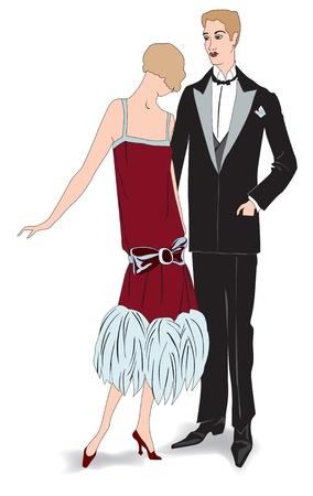 flapper: Pareja en chica flapper partido, con estilo retro de moda hombre 1920 del partido