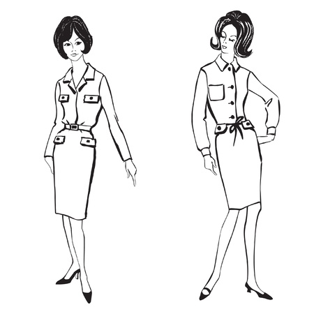mod: Stylish fashion dressed girls  1950 s 1960 s style   Retro fashion party  vintage fashion silhouettes from 60s