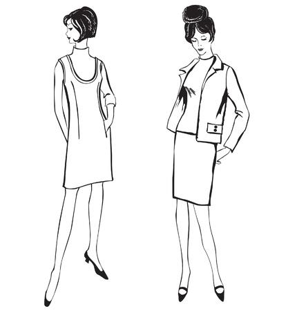 catwalk model: Moda elegante vestito ragazze 1950 s 1960 s stile retr� moda silhouette moda vintage partito da anni '60