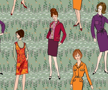 Stylish fashion dressed girls  1950 s 1960 s style  seamless pattern  Retro fashion party  vintage fashion silhouettes from 60s   Vector