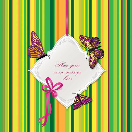 Greeting card with butterflies and bow ribbon  Frame for text Stock Vector - 17280303
