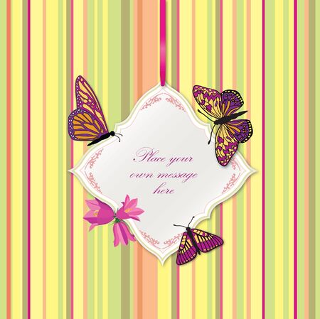 Greeting card with butterflies and bow ribbon  Frame for text   Vector