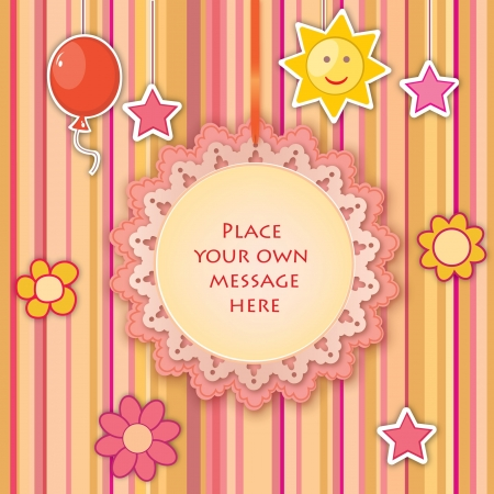wed beauty: Greeting card for baby or child birthday