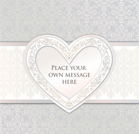 Greeting card with heart in victorian style  Wedding invitation Vector