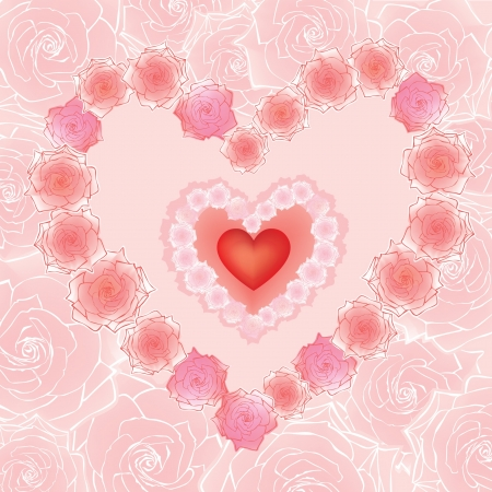 Greeting card with heart and a rose in girlish style  Stock Vector - 17271627