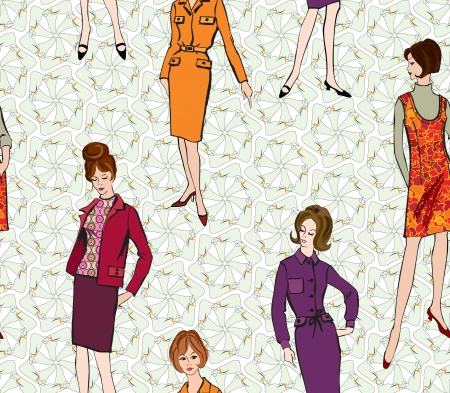 french model: Stylish fashion dressed girls  1950 s 1960 s style  seamless pattern  Retro fashion party  vintage fashion silhouettes from 60s