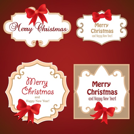 Set of Badges, Tags with space for text  Set of christmas retro labels with red gift bows with ribbons   Vector