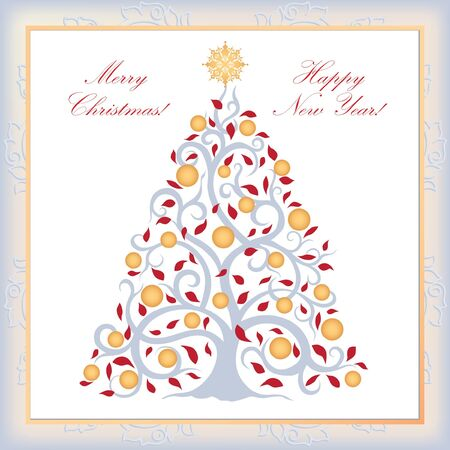Christmas greeting card  Happy New Year postcard   Stock Vector - 17271700