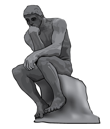 The Thinker Statue by french sculptor Rodin  Vector Illustration Stock Vector - 17271690