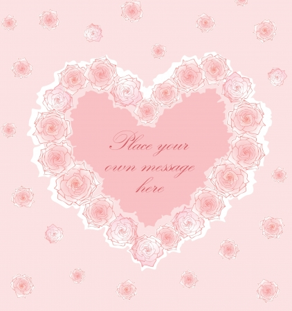 Greeting card with heart and a rose in girlish style Stock Vector - 17271603