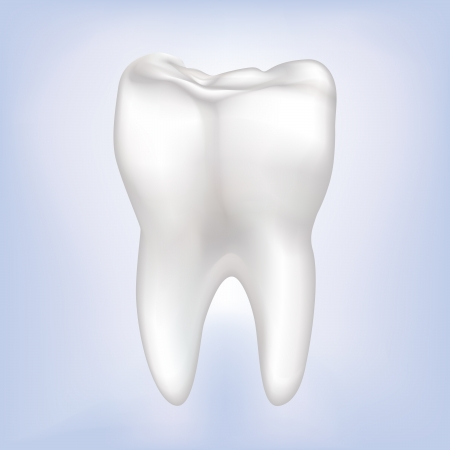 dental caries: Tooth on blue background