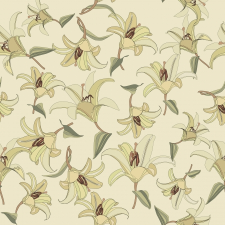 floral seamless pattern  gentle flowers lily background  Vector