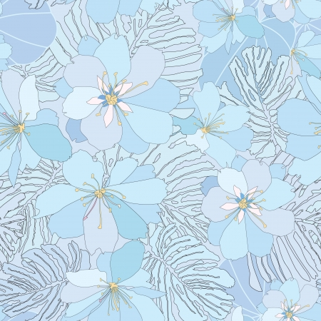 asian gardening: abstract floral seamless pattern  gentle flower and leaf background