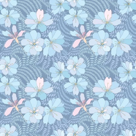 japanese motif: abstract floral seamless pattern  gentle flower and leaf background