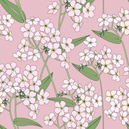 floral seamless background  gentle flower pattern  spring texture  Vector