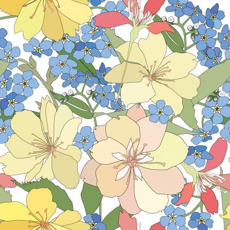 asian gardening: floral seamless background  gentle flower pattern  spring texture