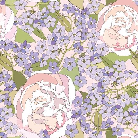 floral seamless background  gentle flower pattern  spring texture  Vector