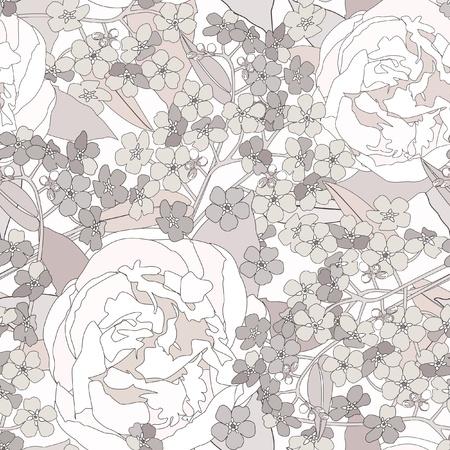 floral seamless background  gentle flower pattern  flourish texture  Vector