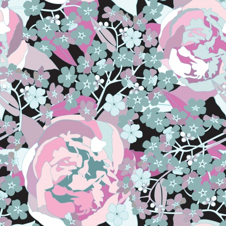 forget me not: floral seamless background  gentle flower pattern   Illustration