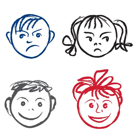 Kids smile and sad face  design elements set Stock Vector - 17715707