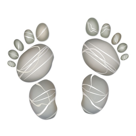 flint: Foot step pebbly stones of various shapes and colors  background