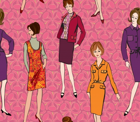 mod: Stylish fashion dressed girls  1950 s 1960 s style  seamless background  Retro fashion party  vintage fashion silhouettes from 60s   Illustration