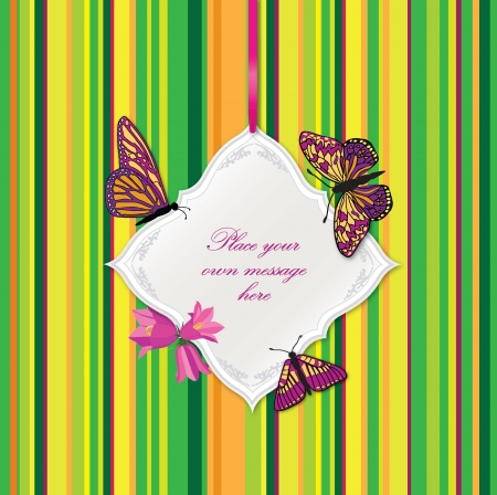 Greeting card with butterflies and bow ribbon  Frame for text Stock Vector - 17715785