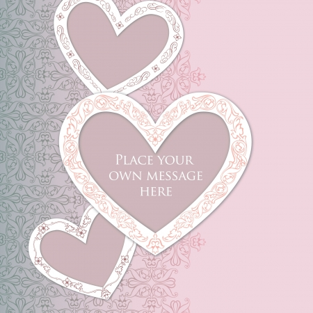 white greeting: Greeting card in vintage style  Valentine heart label  Love gentle background  Can be used as wedding invitation   Illustration