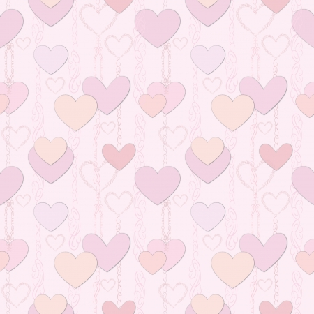 st  valentin: Love heart seamless background  St  Valentin s texture  Party card  Greeting pattern  Illustration