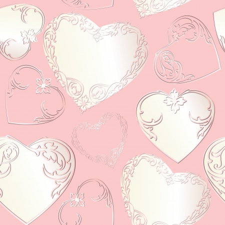 Love heart seamless white and pink pattern  Valentine wrapper  Abstract gentle wedding background  Princess greeting card Stock Vector - 17715701