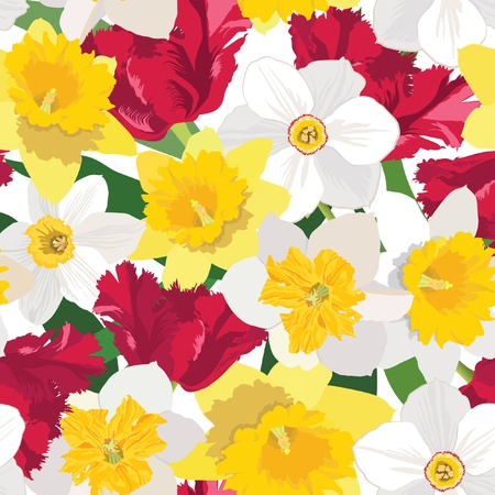 yellow roses: floral seamless pattern  flower background with red tulip and white daffodil
