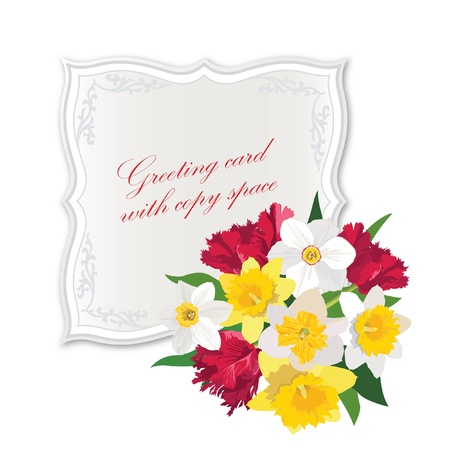 daffodils: Greeting card with space for text  gift lacy cards with spring flower bouquet  Vector badge