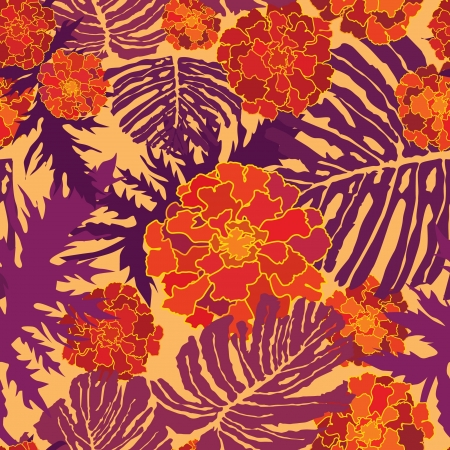 japanese garden: abstract floral seamless background  gentle velvet-ribbon pattern  Floral seamless background with red, yellow and purple flowers  Ornate flower texture