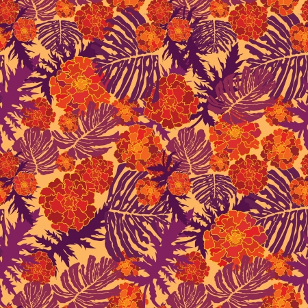 velvet ribbon: abstract floral seamless background  gentle velvet-ribbon pattern  Floral seamless background with red, yellow and purple flowers  Ornate flower texture