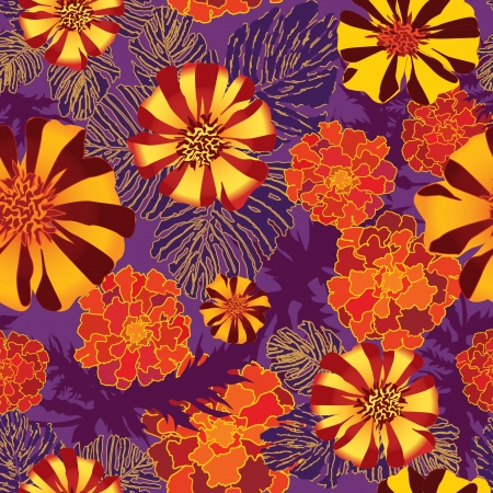 abstract floral seamless background  Floral seamless background with red, yellow and purple flowers  Ornate flower pattern Stock Vector - 17715769