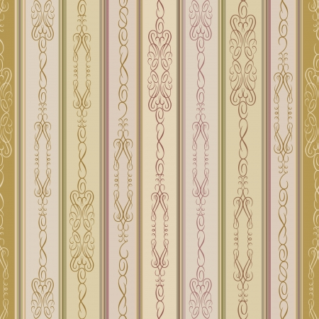 seamless victorian wrapper pattern with lightning ornament  old gold lined background Stock Vector - 17715675