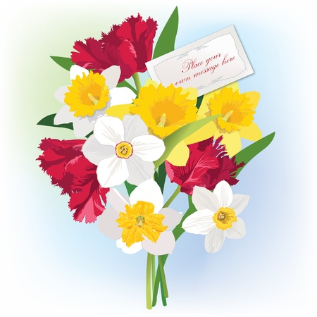 Greeting card with space for text  gift lacy cards with spring flower bouquet badge