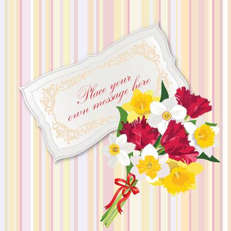 Greeting card with space for text  gift lacy cards with spring flower bouquet badge Stock Vector - 17715765