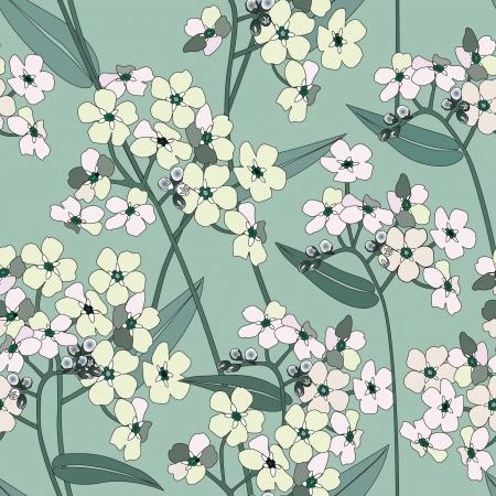 japanese garden: floral seamless background  gentle flower pattern   Illustration