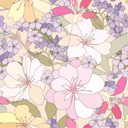 japanese motif: floral seamless background  gentle flower pattern  spring texture