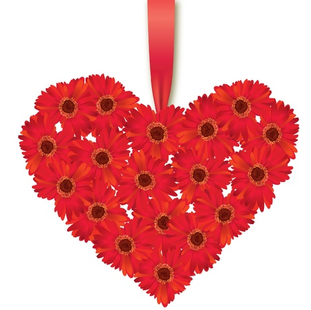 Gerbera: Love heart flower bouquet over white  St Valentin s day  Love Greeting card
